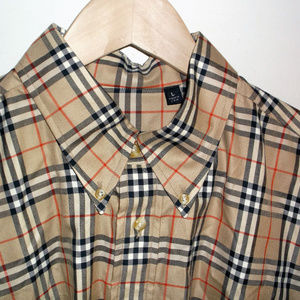 Tan Men's Shirt Classic Plaid Button-down Size L